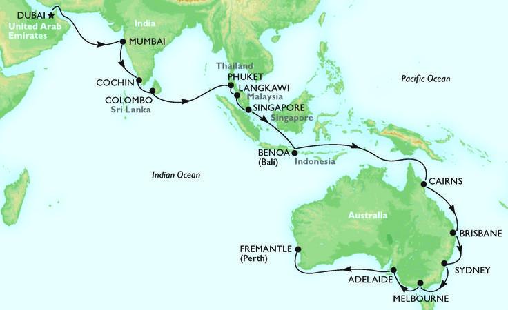 #MSCOrchestra's 2015 itinerary stopping Mumbai & Cochin, Colombo, Phuket, Langkawi, Singapore, Benoa, Cairns, Brisbane, Sydney, Melbourne, Adelaide & Perth