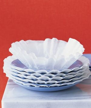 Re-purpose Coffee Filter as Plate Protector - Great idea when packing for a move.