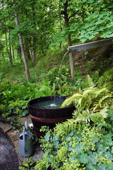: Barrel Waterfall, Water Gardens, Waterfeatures, Fountains Wells Waterfalls, Water Features, Beautiful Waterfall, Outdoor Bathtub, Green, Outdoors Landscapes Gardens
