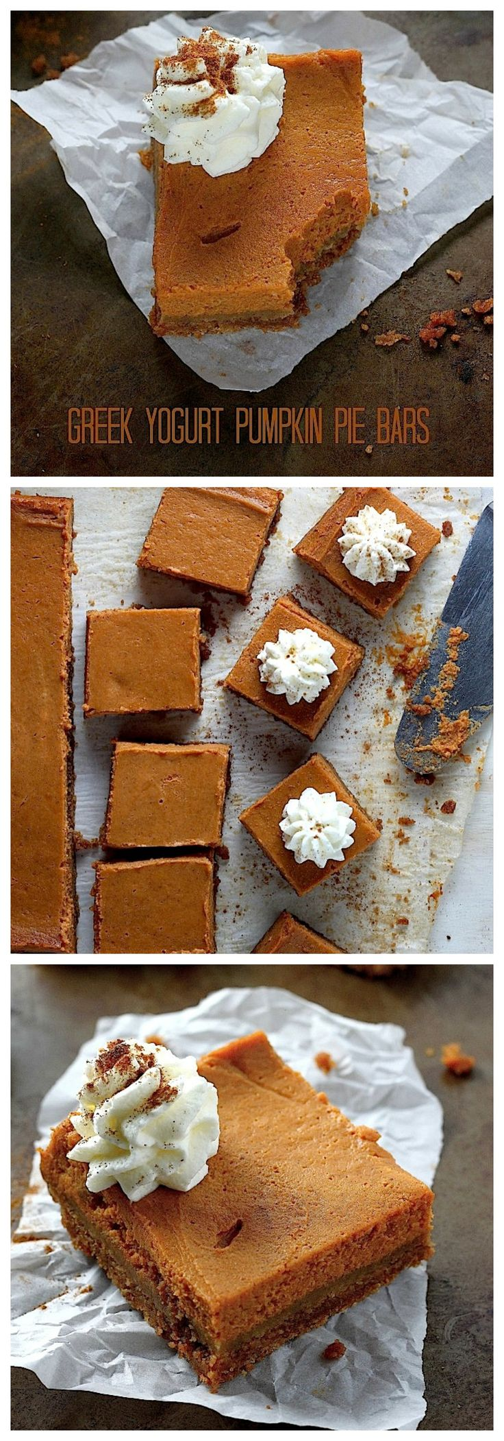 Greek Yogurt Pumpkin Pie Bars - So much easier than making a whole pie! These creamy bars taste just like the real thing and travel great. Perfect for the holidays!