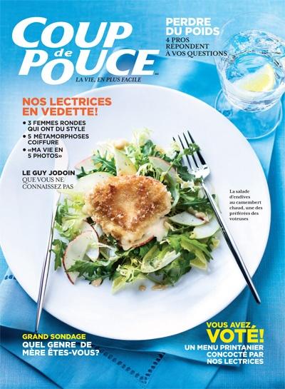 En couverture de notre magazine d'avril 2013: Salade d'endives à la pomme garnie de camembert chaud