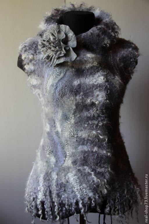 Купить Жилет валяный Серебристое руно - цветочный, жилет валяный, Жилет женский, одежда для женщин