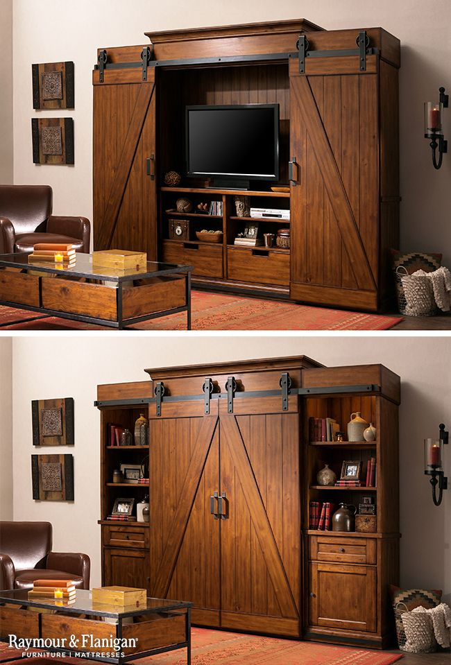 Fall is all about the industrial, rustic look this year. This entertainment center is a bit of both and perfect for the season!