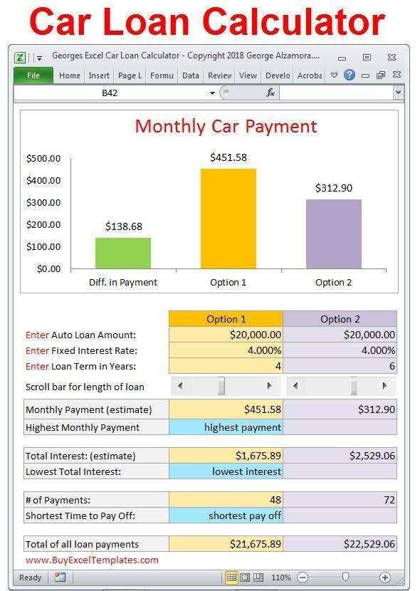 Georges Excel Car Loan Calculator V2 0 Interest And Amortization Calculator 20 Year Amortization Calculator Car Loan Calculator Loan Calculator Car Loans