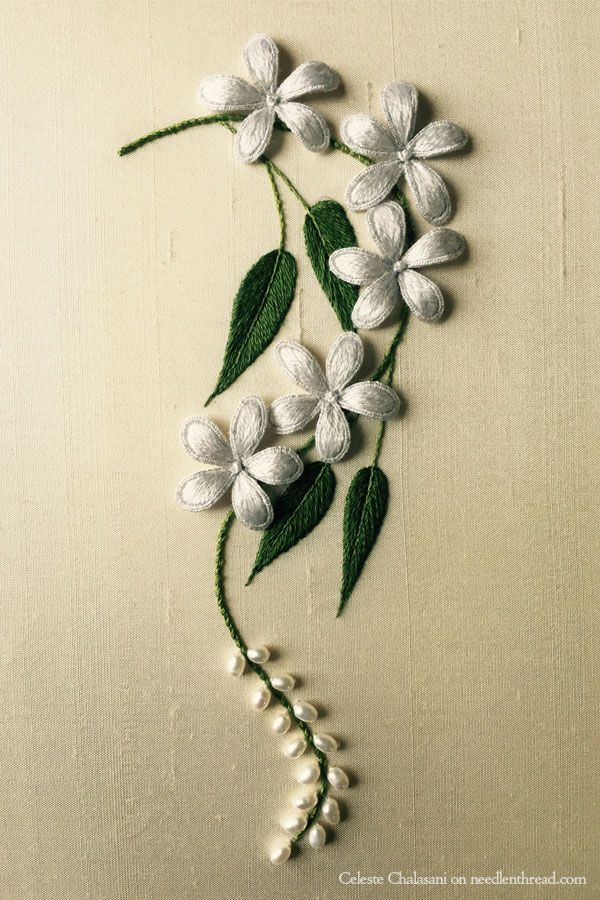 Pearls of India ~ stumpwork embroidery by Celeste Chalasani ~ article on NeedlenThread with link to online Stumpwork Craftsy Class