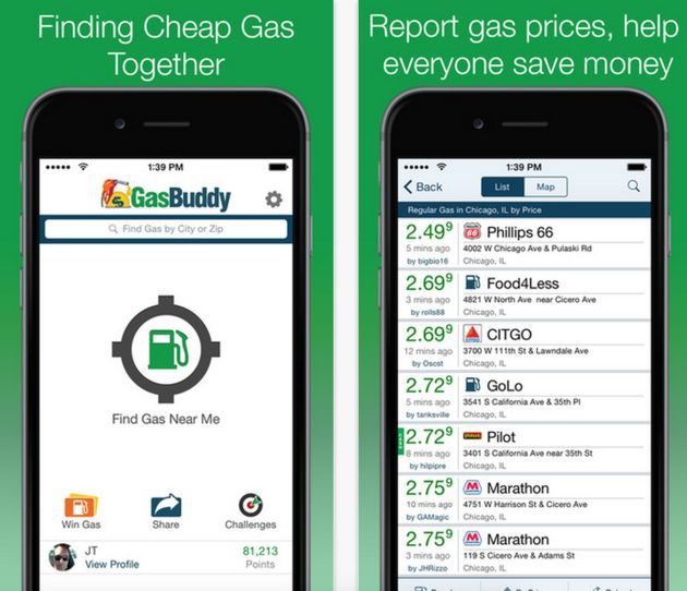 Gas buddy app to find the cheapest gas