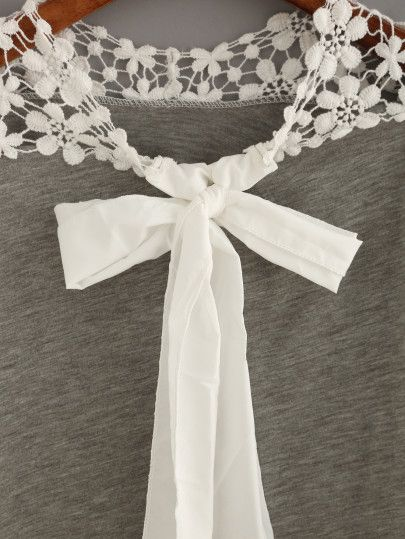 Crochet Shoulder Tie-Neck Top