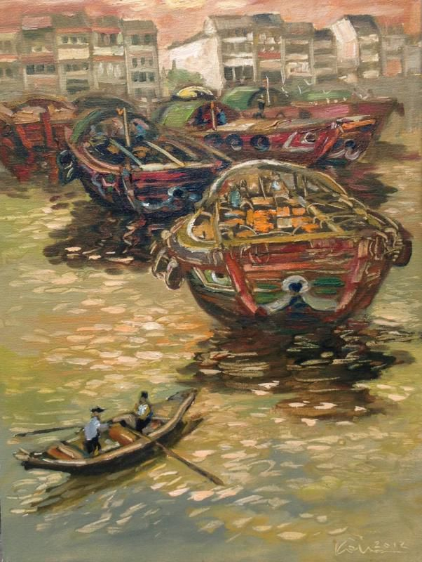 Koeh Sia Yong: Boats By The Quay, Oil on Canvas, 33 x 44cm. Represented by Ode To Art.