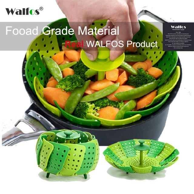 WALFOS food grade cooking microwave silicone steamer-kitchen tools folding steamer basket-collapsible vegetable steamer basket