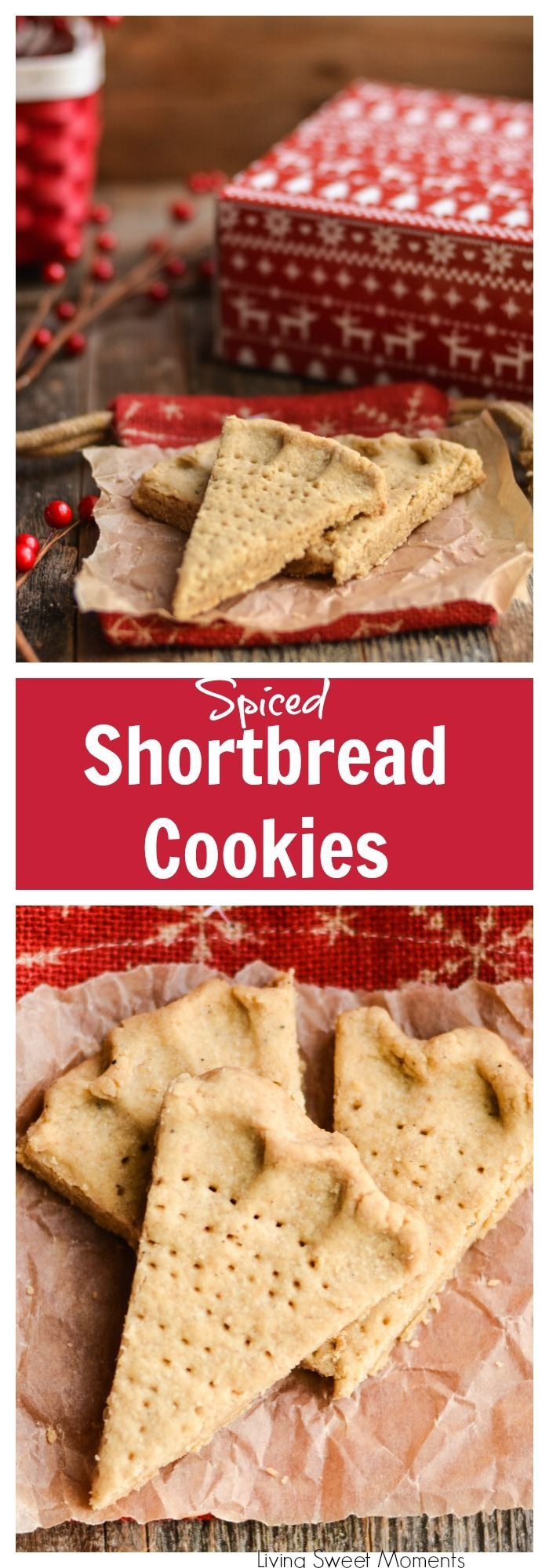 These crumbly Holiday Spiced Shortbread Cookies are super delicious and easy to make. Cut into wedges, they are perfect for dessert or to dip in your coffee. More Christmas cookies recipes at http://livingsweetmoments.com  via @Livingsmoments
