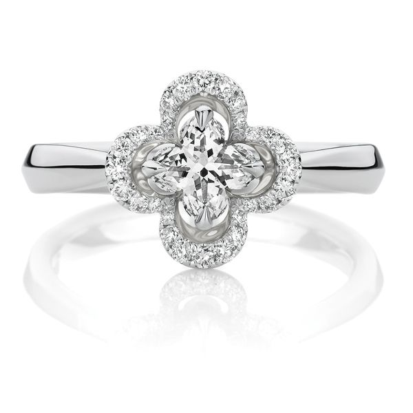 18ct White Gold Lily Cut Diamond Halo Engagement Ring