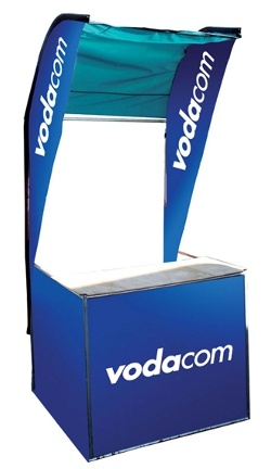 The Quick Kiosk consists of a combination of the exclusive Quick Banner and the One Man Portable Kiosk. This provides a quick to assemble, portable and lightweight point-of-sale kiosk which is also unique and eye-catching.