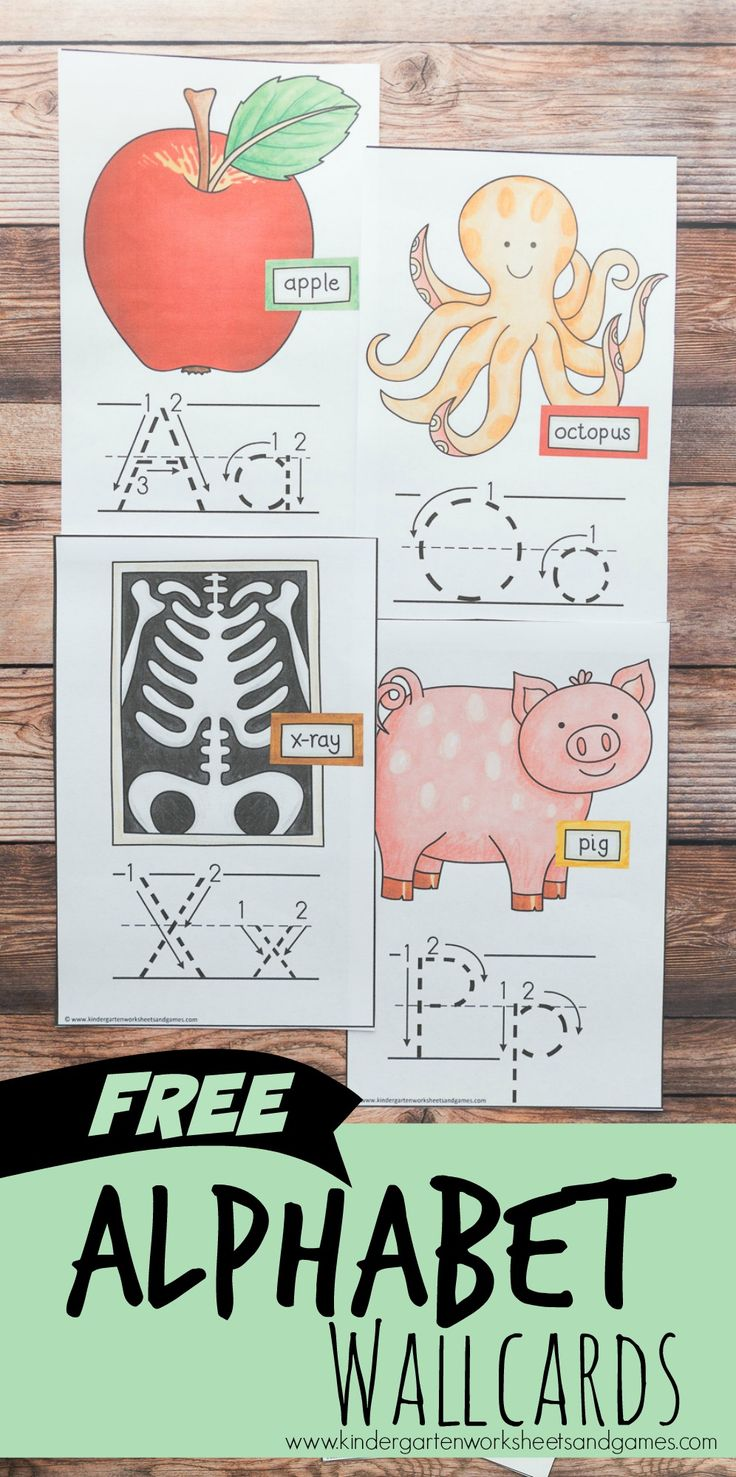 FREE Alphabet Wallcards are perfect to hang in your playroom, school room, or homeschool space to help kids visualize how to form both upper case and lower case letters, the order of their ABC, and to help them start to remember what sound each letter makes with the cute image visual cue.