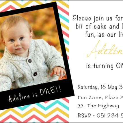 First Birthday party invitation with polaroid theme. This sample uses the yellow theme colour.