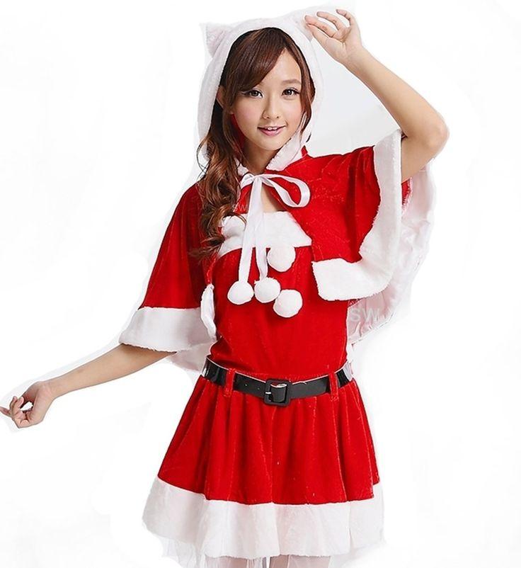 クリスマス サンタクロース 衣装コスプレ萌系ネコ耳フーディーショール、トップス、スカート、レッグカバー、ベルト5点セット