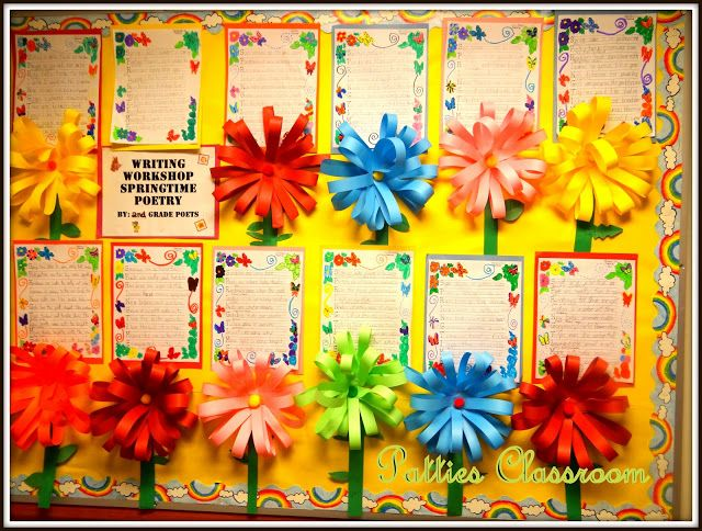 Paper Pom Pom Flowers and acrostic poems made such a cute springtime bulletin board in my classroom! So pretty for any grade level!