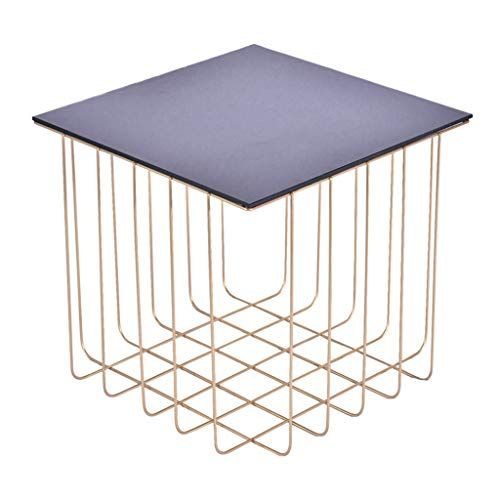 Square Coffee Table Side Table Black Tempered Glass Material