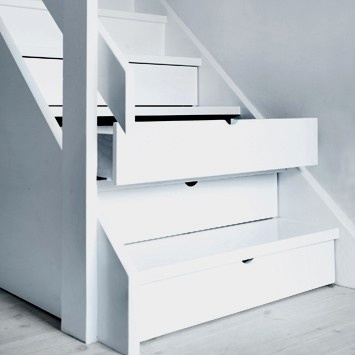Staircase storage - simple and brilliant www.eastkenttimber.co.uk