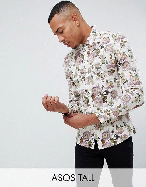 479c60dc21fda4 DESIGN Tall skinny fit ecru floral shirt in 2019 | Robin | Shirts ...