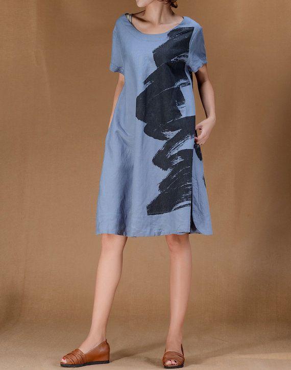 Blooming Life/ Linen Women short sleeved Long dress