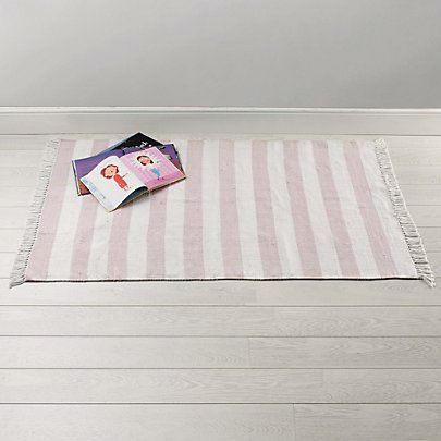 Pink Stripe Rug | The White Company for near desk?