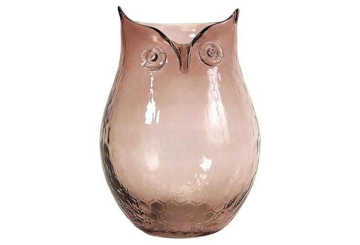 Ambra Glass Owl Vase, $19