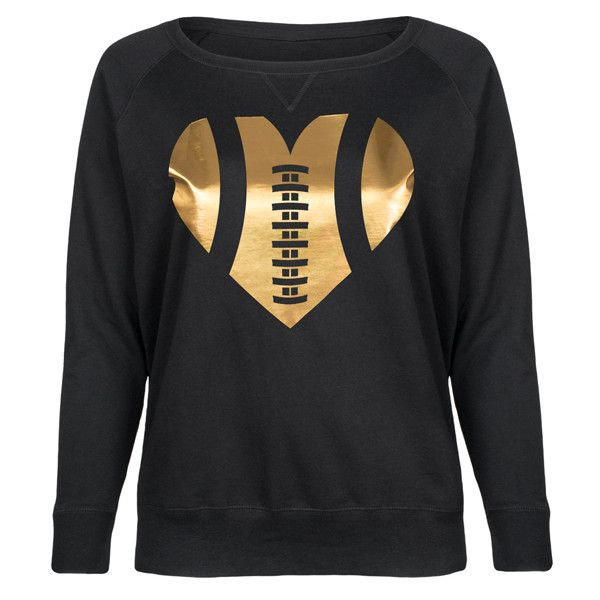 Sporteez Plus Black & Gold Foil Football Heart Slouchy Pullover ($37) ❤ liked on Polyvore featuring tops, sweaters, plus size, womens plus tops, slouchy pullover, plus size heart sweater, graphic pullover and plus size tops