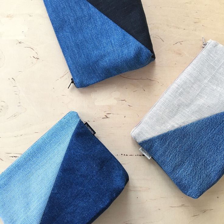 Recycled Denim and Linen Cosmetic Bag, Colourblock Blue and Beige Make up Zipper Pouch, Denim Bag