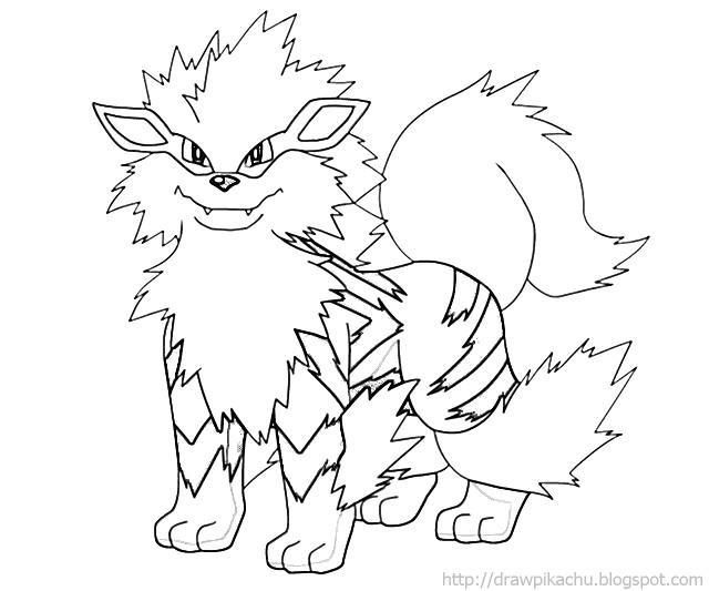Pokemon Arcanine Coloring Pages