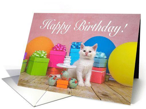 White kitten party Happy Birthday card