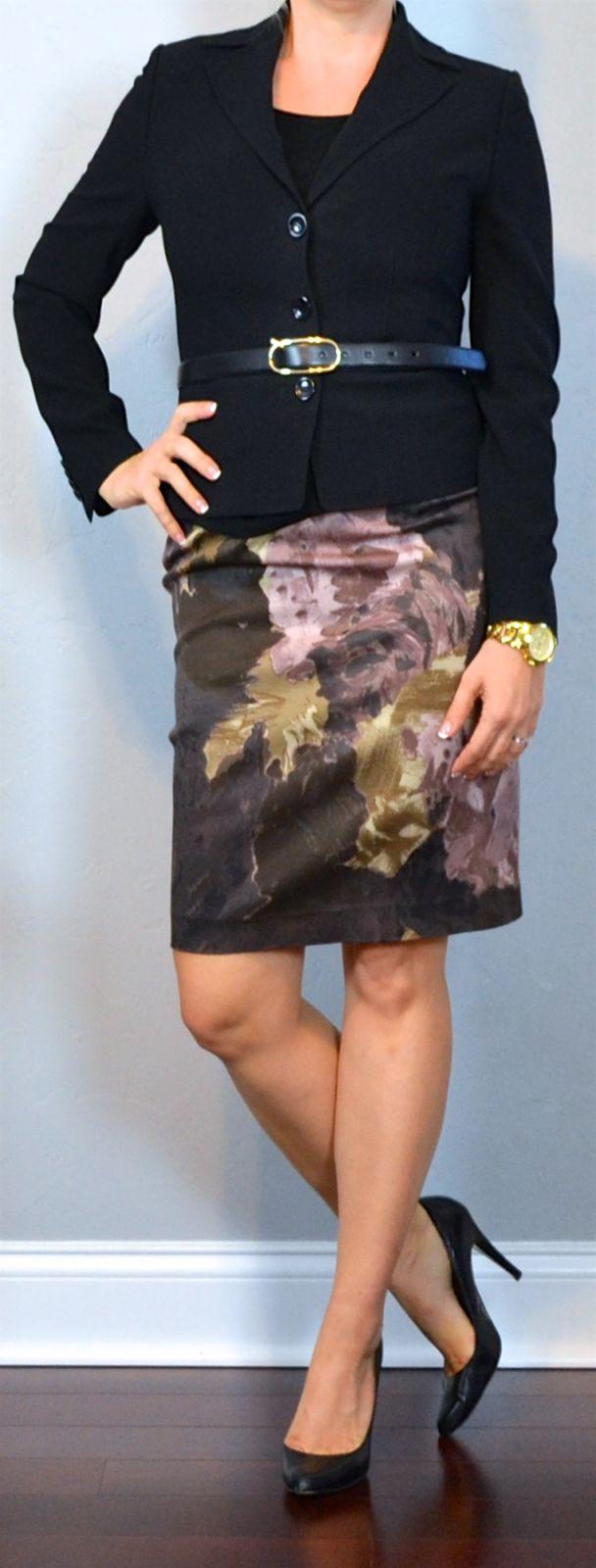 Outfit Posts: outfit post: black blazer, purple floral pencil skirt, black pumps