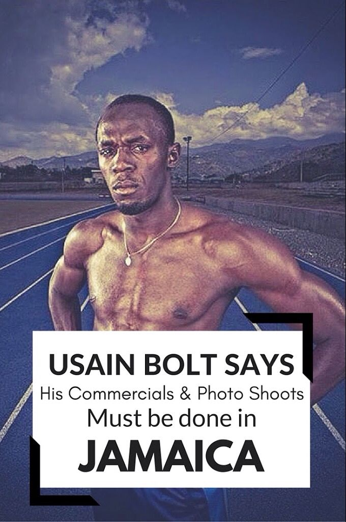 Usain Bolt Says All Commercials & Photo Shoots Must Be Done in Jamaica - http://jamaicans.com/usain-bolt-says-ad-photo-shoots-must-be-done-in-jamaica/