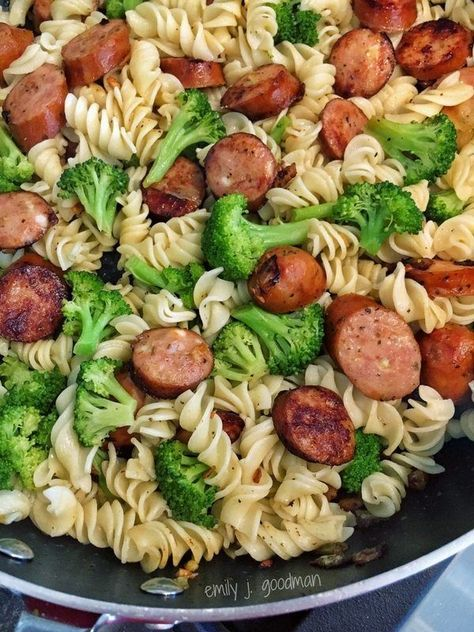 Pasta with Broccoli and Chicken Sausage - add pasta