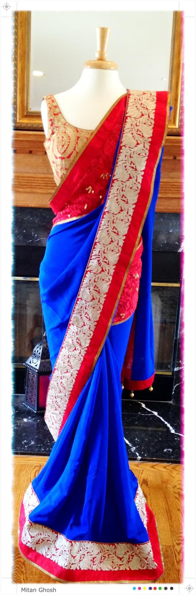 Crepe and lucknowi saree.