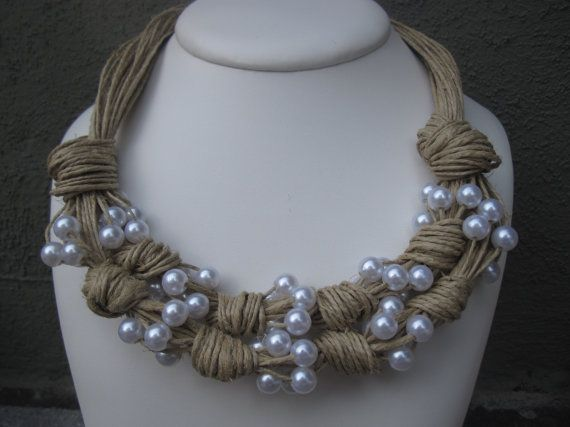 Necklace Natural Linen Knots Resine Fantasy Pearls by espurna88