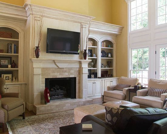 Family Room DesignStones Fireplaces, Fireplaces Design, Families Room Design, Ceilings Design, Fireplaces Built In, Traditional Family Rooms, Bookcas, Traditional Home, Fireplaces Surroundings