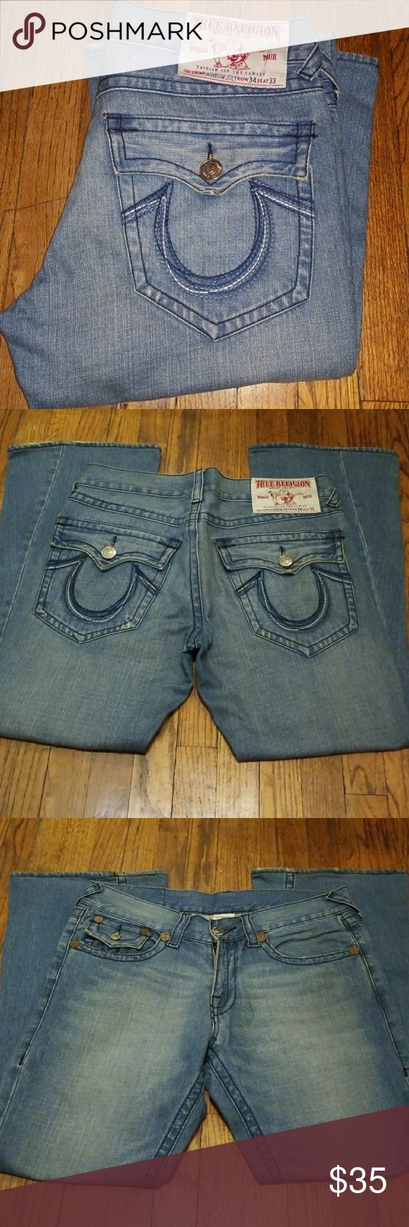 True Religion Jeans.  Rainbow Joey These are True Religion Jeans. The style is Rainbow Joey. They are size 34 with a inseam or length of 30 They are in good condition normal signs of wear. They are quality made jeans at a fraction of price.All the ladies love these jeans so Get them before someone else does. True Religion Jeans Flare & Wide Leg