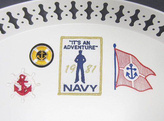 Navy Embroidered Iron on Patches Military Flag Anchor Nautical