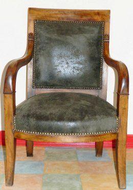 refaire fauteuil empire cuir vieilli la rime des mati res asseyez vous pinterest cuir. Black Bedroom Furniture Sets. Home Design Ideas