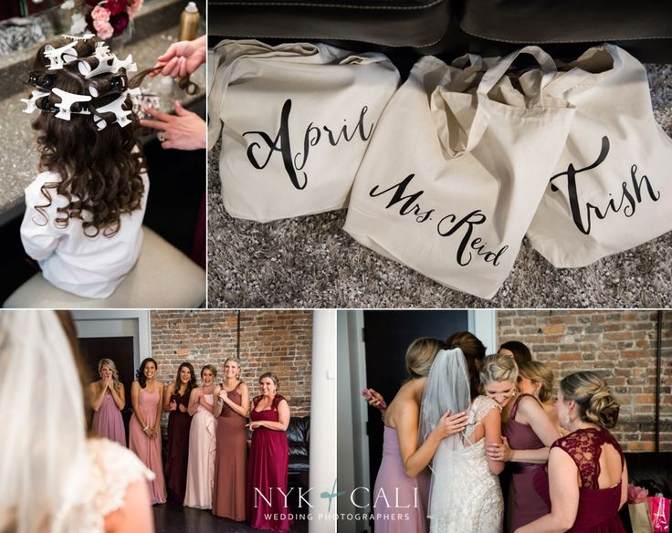 Nyk + Cali Wedding Photography | Nashville, TN | The Bell Tower | Wedding | Getting Ready | Bridesmaids | Flower Girl | Gift Bags | Maroon | Pink |