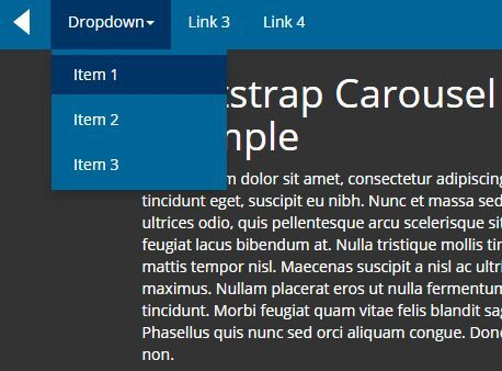 The Bootstrap Carousel Menu plugin allows you to convert the native Bootstrap nav into a carousel-style scrolling menu with next/prev navigation.
