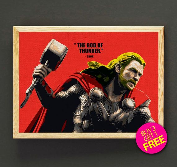 Avengers Thor Quote Art Print Superhero Poster Pop Art House Wear Quote Wall Art Decor Gift Linen Print - Buy 2 Get FREE - 152s2g