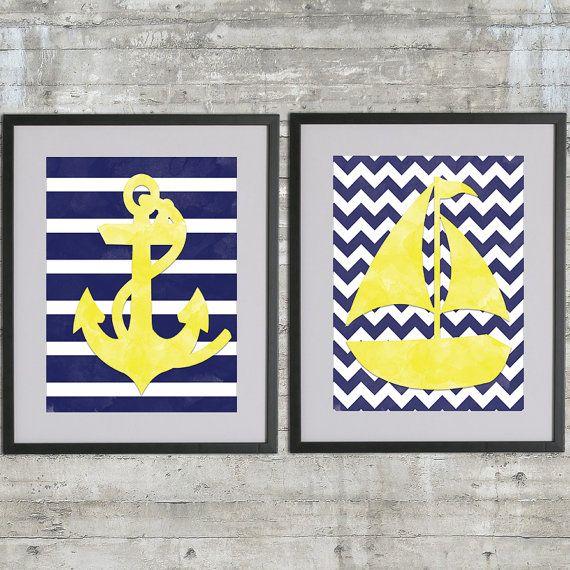 Nautical Nursery Art, Boys Nautical Bathroom Art Print Set of 2 - 8x10 Prints in Navy and Yellow on Etsy, $26.00