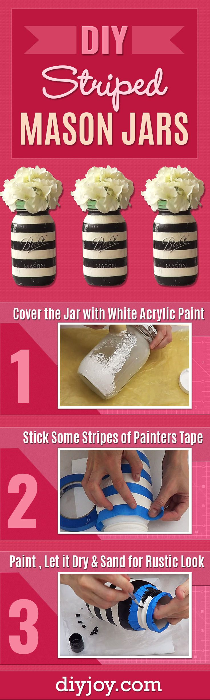DIY Painted Mason Jars With Stripes - Easy Striped Mason Jars Make Cheap and Easy Home Decor - Creative DIY Projects and Crafts With Mason Jar