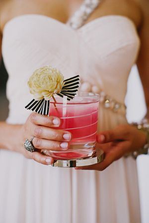 Drink stirrer made out of balsa wood flower and striped ribbon, design by StylishSoiree.com photo by Tinywater.com: Stripes Ribbons, Wood Flowers, Signature Drinks, Fancy Drinks, Drinks Stirrers, Fun Cocktails, Wedding Drinks, Signature Cocktails, Balsa Wood