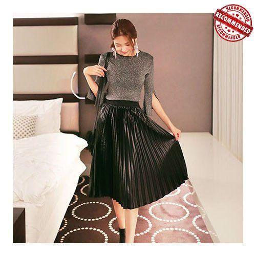 MAGZERO Metallic Black Pleated Midi Skirt WSKP000CREA