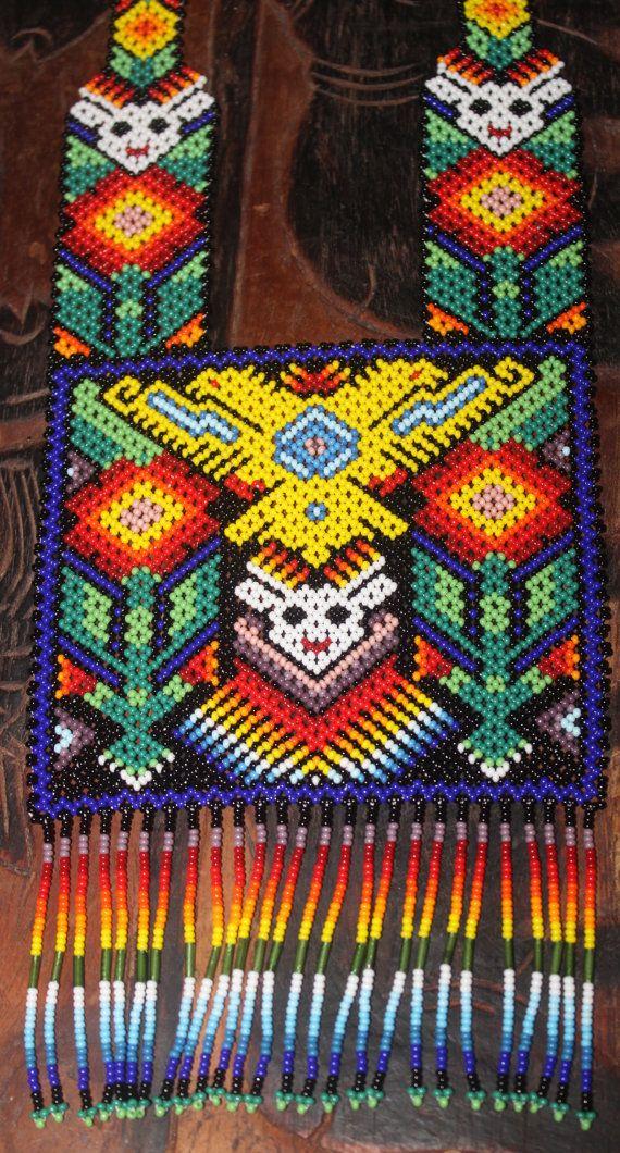 Huichol Peyote Beaded 2 Headed Eagle Necklace VV by HuicholArte