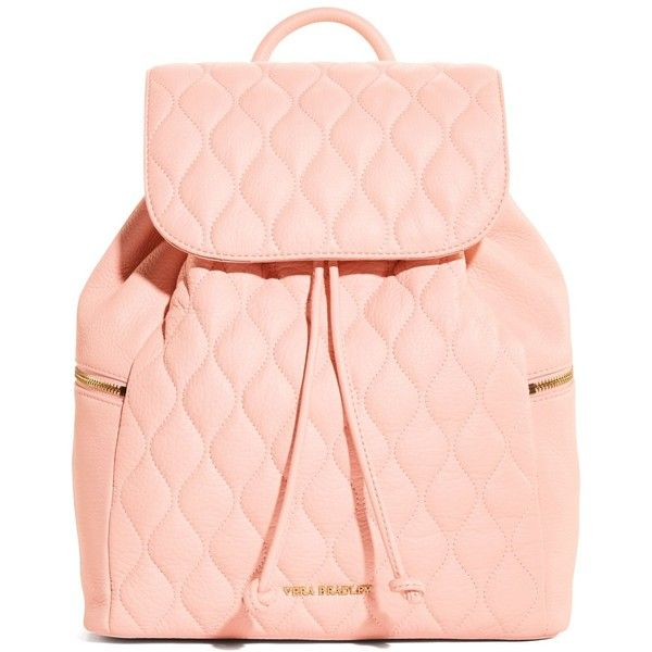 Vera Bradley Quilted Amy Backpack in Blush ($258) ❤ liked on Polyvore featuring bags, backpacks, accessories, purses, pink, blush, leather backpack, leather zip backpack, real leather backpack and genuine leather backpack