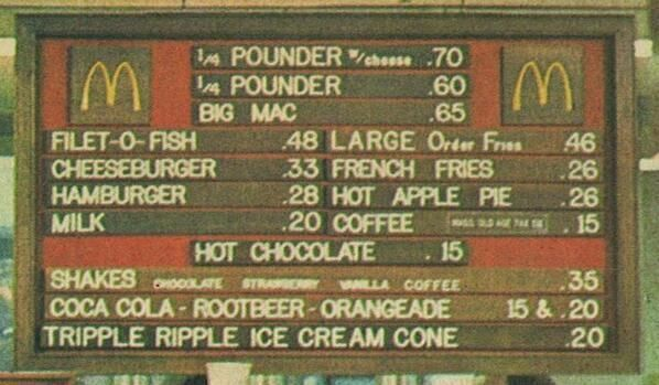 McDonalds menu in the early 1970s