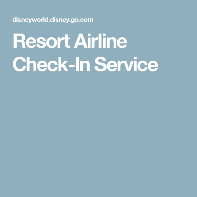 Resort Airline Check-In Service